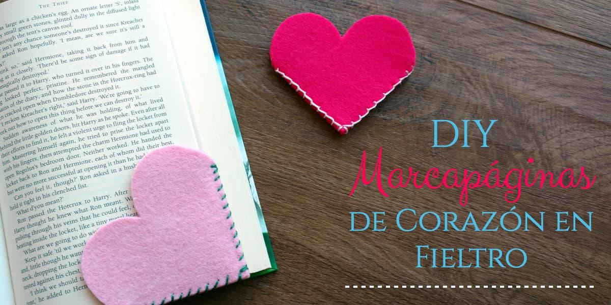 DIY Marcapáginas de Corazón en Fieltro