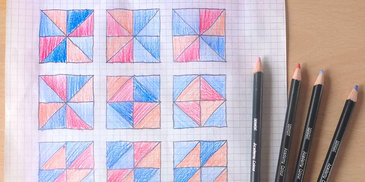 tutorial paso a paso diseño y corte cojín de patchwork Wunderlabel España