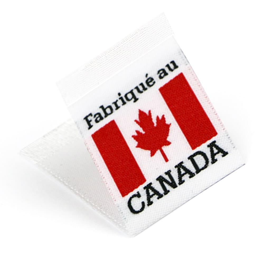 Etiquetas Tejidas con Bandera 'Fabriqué au Canada'