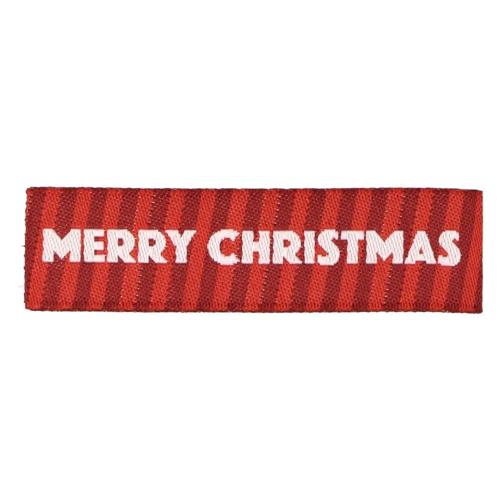 Etiquetas Tejidas de Navidad – Merry Christmas con Rayas Rojas