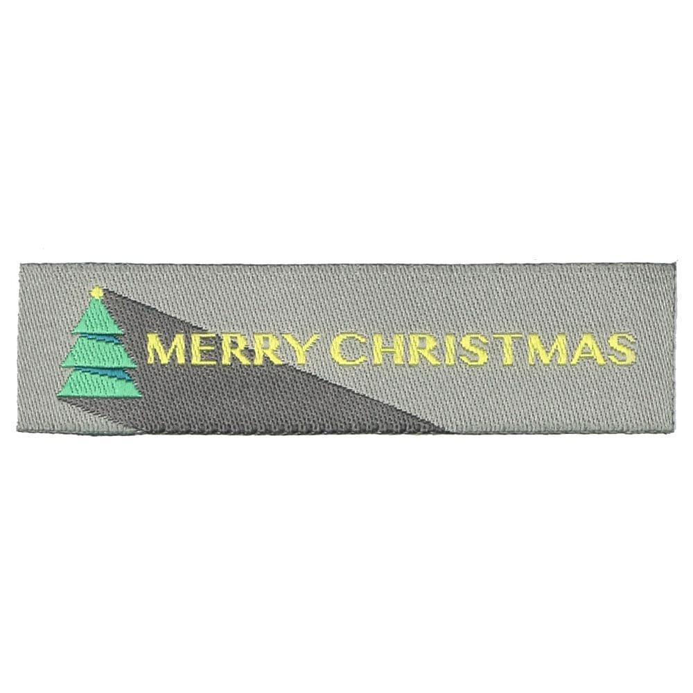 Etiquetas Tejidas de Navidad – Merry Christmas con Árbol de Navidad