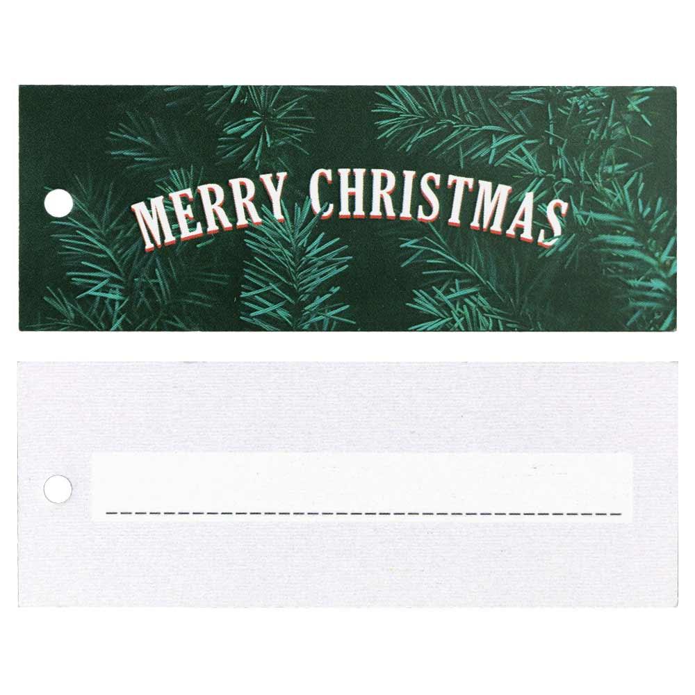 Etiquetas de Cartón de Navidad – Merry Christmas con Verde