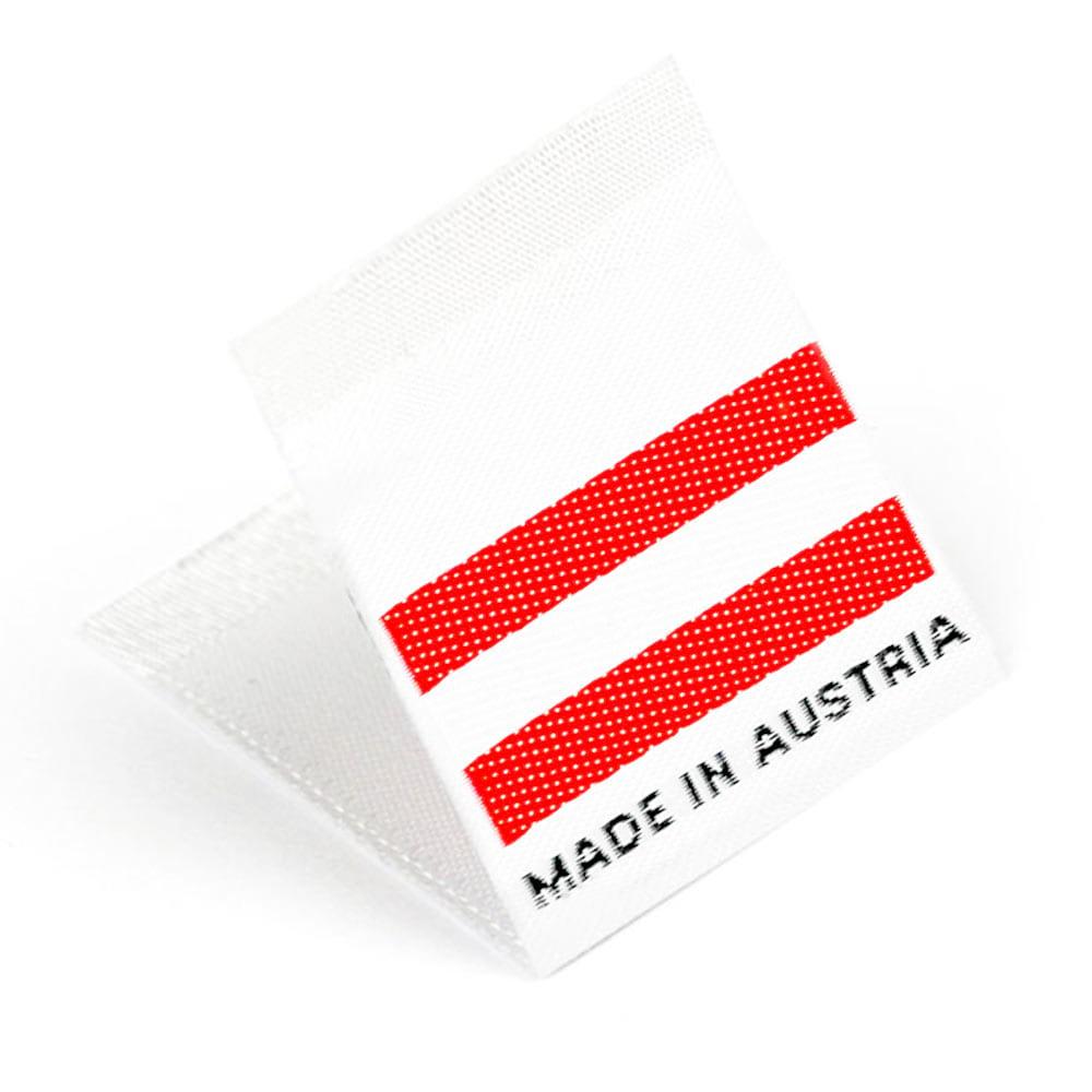 Etiquetas Tejidas con Bandera 'Made in Austria'
